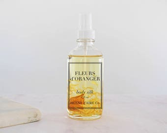 fleurs d'oranger body silk | natural orange blossom body oil with neroli, blood orange, honeysuckle | lightweight 4 oz glass spray
