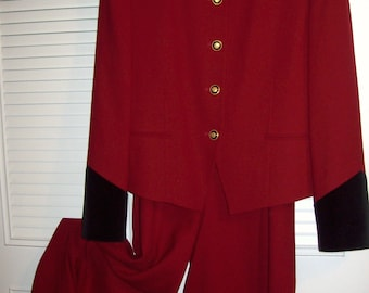 Pantsuit 8 - 10, Red Wool Very Fine Pantsuit by J H Collectibles, PERFECT ! Vintage Find !!  see details