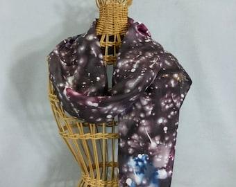 "Silk Scarf ""Starry Universe"", Hand Painted Silk Scarf, Black Silk Scarf"
