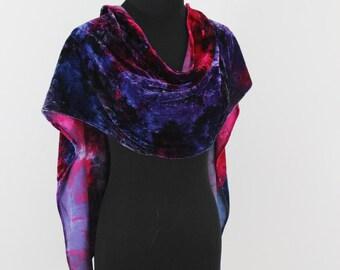 Rayon/Silk Velvet Scarf-Hand Dyed Silk Velvet Scarf-Hot Pink and Blue Velvet Scarf-Elegant Winter Scarf