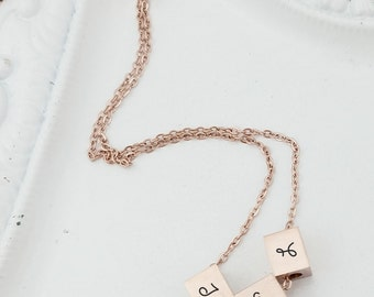 Dainty Rose Gold Mother's Necklace, Personalized Mother's Necklace, Initial Necklace, Gift for Mom, Rose Gold Necklace, Gift for Her