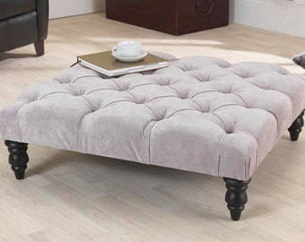 3ft Jacobs Grey Velvet Chesterfield Footstool/Coffee Table