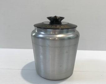 ALUMINUM COFFEE CANISTER, Vintage coffee canister, coffee grounds canister, coffee container w/ lid, metal coffee container, farmhouse decor