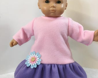"15 inch PURPLE & PINK Soft Fleece Dress with Pretty Flower, 15"" AG American Bitty Baby/Twin, 15"" Doll Clothes, Pretty Purple and Pink Dress!"