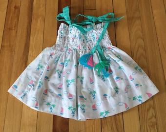 Vintage 1980s Baby Infant Girls Palm Tree Boat Summer Sun Dress! Size 6-12 months