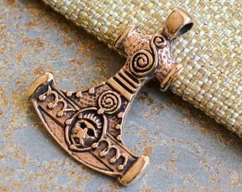 Bronze Hammer of Thor Pendant,Thors Hammer,Norse Mythology, Danish,Bronze Pendants, Protection Amulet,Thor Hammer Replica, Handmade,JH15-014
