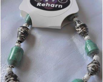 Handmade Paper Bead Bracelet - Black, Green and White