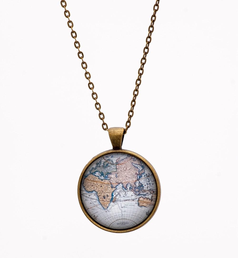 World Map Necklace Globe Necklace Atlas Necklace