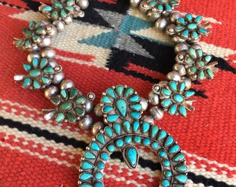Exquisite Early Zuni Petit Point Sterling & Turquiose Squash Blossom Necklace