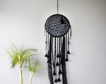Black dreamcatcher with lace, macrame and pompoms