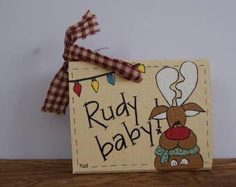 Rudolph Ornament, Rudolph The Red Nosed Reindeer Ornament, Rudy Baby, Hand Painted Reindeer Mini Sign, Wooden Ornament, Christmas Ornaments
