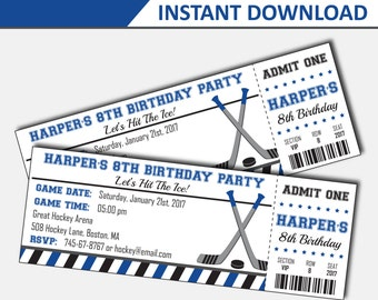 Hockey Invitation - Hockey Birthday Invitation - Hockey Party - Hockey Birthday - Ticket Invitation - Printable Invites (Instant Download)