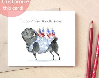 Patriotic pug card - funny pug 4th of July card, Independence Day, Fourth of July cookout invitation, American pug card by Inkpug