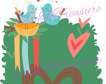 Digital Download Clipart – Valentine Tree 3 JPEG and PNG files