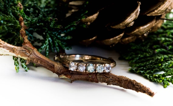 14k yellow gold twig sapphire wedding band, one of a kind wedding band, twig engagement ring