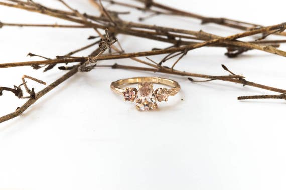 14k gold morganite and sapphire twig engagement ring, gold twig promise ring, morganite engagement ring, three stone twig engagement ring