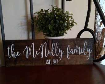 Family Name Wood Sign | Last Name Established Sign | Family Established Wood Sign | Name Wood Sign | Home Decor | Wedding Gift | New Home