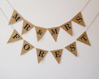 Personalised Mr & Mrs wedding bunting, wedding banner, wedding sign