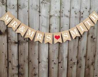Personalised Mr & Mrs wedding bunting banner, wedding photo prop