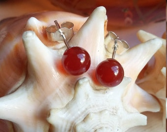 Sterling Silver Red Orange Carnelian Ball Post Stud Earrings