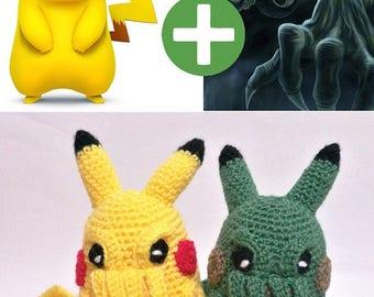 PIKACHU CTHULHU MASHUP 9'' Pikathulhu anime crossover manga green japan yellow inspired raichu thunder mouse crochet