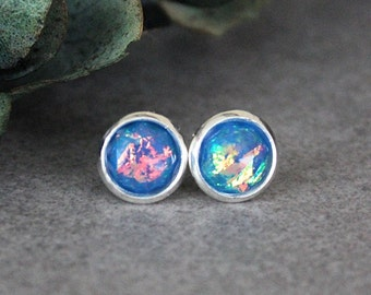 Fire Opal Earrings, Blue Earrings, Blue Stud Earrings, Blue Opal Earrings, Blue Post Earrings, Fire Opal Earrings, Blue Bridesmaid Earrings