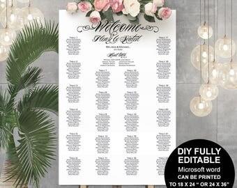 Wedding seating chart sign, wedding seating chart poster, seating chart template, seating chart printable, DIY, table number, elegant