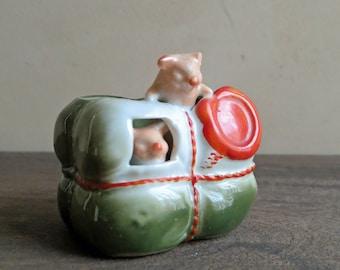 Fairing Pig in Package, Pink Porcelain Pig Germany, German Pink Pig Figurine in Cotton Bale