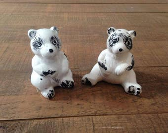 Black and White Bear Salt and Pepper Shakers, Bear Salt and Pepper Shakers, Bears, Salt and Pepper Collection