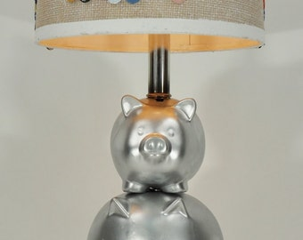 OOAK Silver Piggy Bank Lamp with Button Lampshade