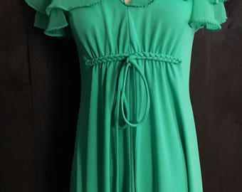 1970 Minty Green Maxi Dress with Sheer Cape Sleeves