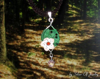 Flower pendant: Daughter of the forest, dryad pendant, elven pendant, elf costume, green pendant, Wood Elf, nature lover gift
