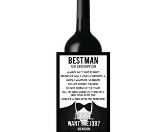 Will you be my Best Man, Will you be my Groomsman, Best Man job description, best man invite liquor label, best man invite