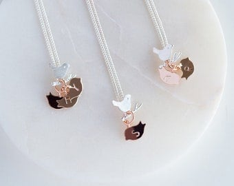 Family Birdie Necklace, Mother's Day Necklace, Personalized Necklace for mum, Made to order for mum (O4+B6)