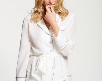 Women's 100% Silk Crepe de Chine Pyjama Set - Short Silk Pyjama Set - Pure Silk Pajamas - Perfect Christmas Gift for Her - Handmade - Ivory