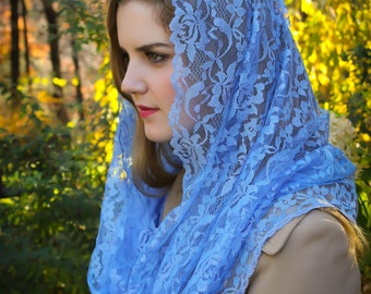 Evintage Veils~ Our Lady Marian Blue Mystical Rose  Lace Chapel Veil Mantilla Infinity Veil