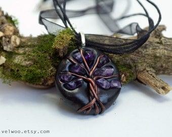 Amethyst Tree-Of-Life Necklace gemstone Pendant February Birthstone Protection Amulet Healing stones Family Tree velwoo