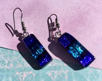 Fused Glass Earrings in Dichro Purple
