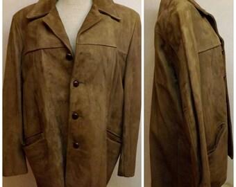 70s Mens Suede Coat DuPont Quilon Size 44 Ranch or Cattlemans Coat