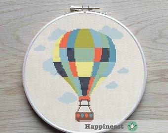 cross stitch pattern hot air balloon, modern cross stitch, balloon, PDF,  ** instant download**