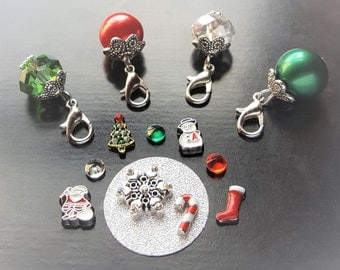 Christmas Floating Charm Set for Floating Lockets-14 Pieces-Fits All Large Floating Lockets-Great Gift Idea