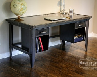 Machinist Tool Desk | Modern Industrial | Vintage Riveted Top With Bookcase  Drawers | Homework |