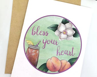 Bless Your Heart Greeting Card / Funny Southern Saying Card / Southern Slang Card / Southern Charm / Peach Sweet Tea Card for Southerner