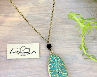 Necklace medallion of intent essential oil diffuser, aromatherapy, positive affirmation, brass and verdigris, hand painted