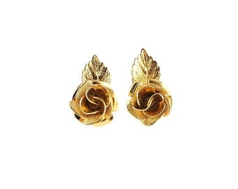 Pretty Gold Tone Vintage Rose Earrings
