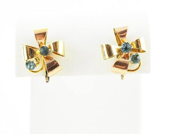 ON SALE - 1940s Vintage Bow Earrings With Yellow and Rose Gold Vermeil
