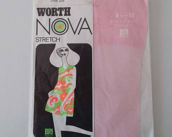 Vintage 1960's Leon Worth Nova Stockings Nylons Burlesque Glamour Pin-Up Pink Gin Colour Hosiery New Old Stock