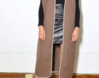 Taupe Wool Oversized Vest