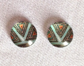 10 pcs Geometric Cabochon Colorful 10mm Glass Turquoise Red & Black No Setting