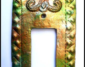 Rocker Switch Plate Cover - Iridescent Metal Switchplate, Single Decora Light Switch Cover, Haitian Steel Drum Art - SR-114-!-IR